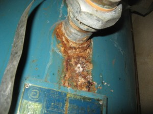Water heater boiler excessively corroded and leaking